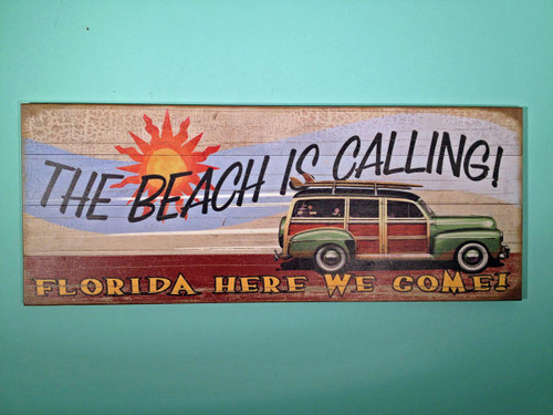 Vintage 50's Woody Sign - The Beach is Calling!