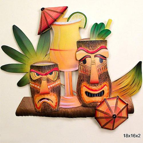Tiki Glasses - Metal Wall Art