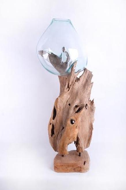 Tall Teak Root Single Glass Vase