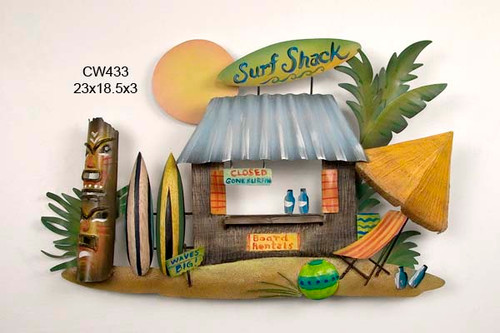Tiki Surf Shack Handcrafted Metal Wall Hanging