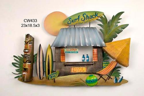 Tiki Surf Shack Handcrafted Metal Wall Hanging
