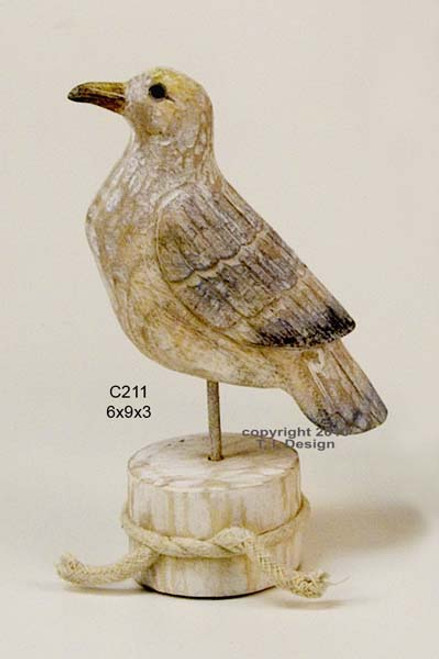Seagull on Piling Hand Carved Wood