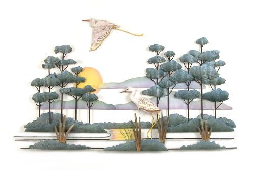 Pair of Cranes in the Marshlands Metal Wall Art
