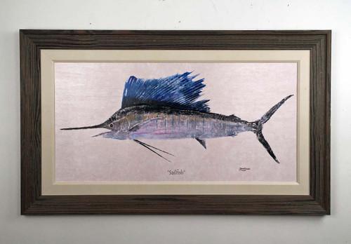 "Sailfish Framed Wall Painting 50"" x 30"""