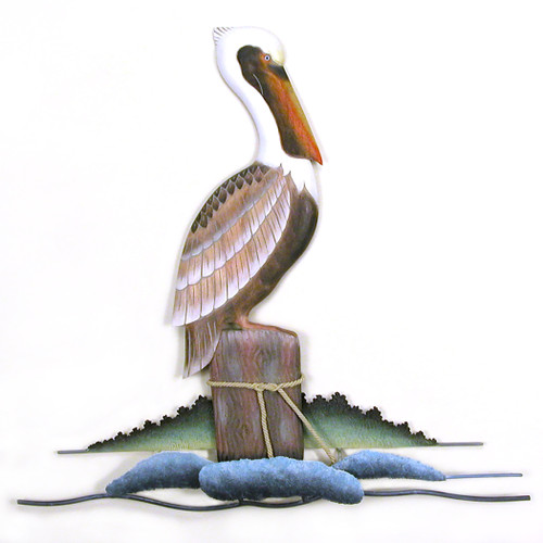 Resting Pelican Metal and Wood Wall Art