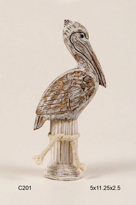 Pelican on Piling  Hand Carved Tabletop Sculpture