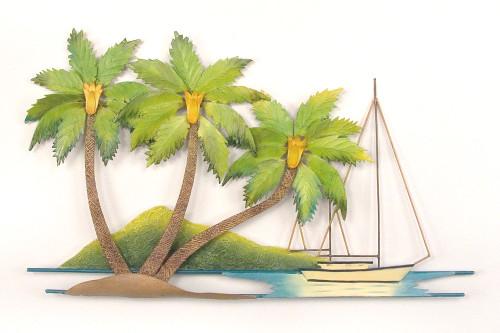 Coconut Palm Tree Island Metal Wall Hanging