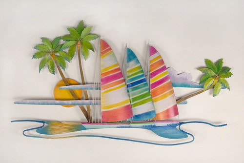 Paradise Found (Hobie Cats on Island) Metal Wall Art