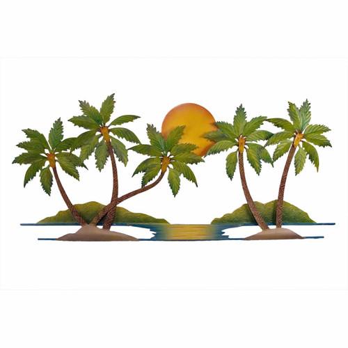 Coconut Palm Tree Oasis Metal Wall Art