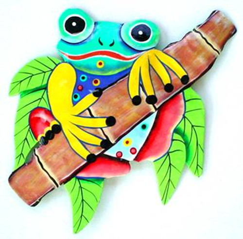 Frog on Bamboo Haitian Metal Wall Art