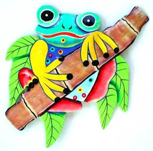 Frog on Bamboo Haitian Metal Wall Art