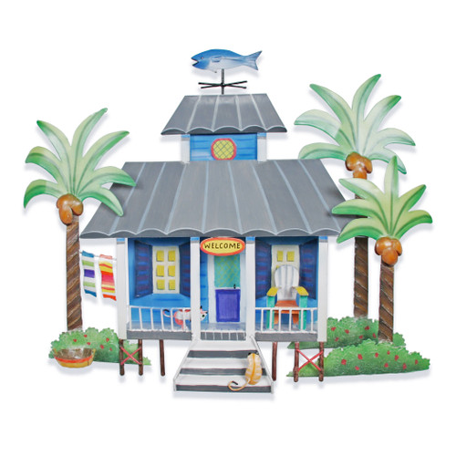 Beach Cottage Metal Wall Hanging
