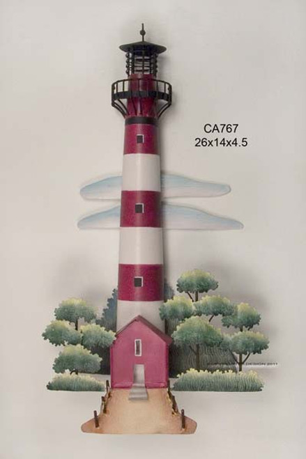 Assateaque - Red & White Striped Lighthouse Metal Wall Art