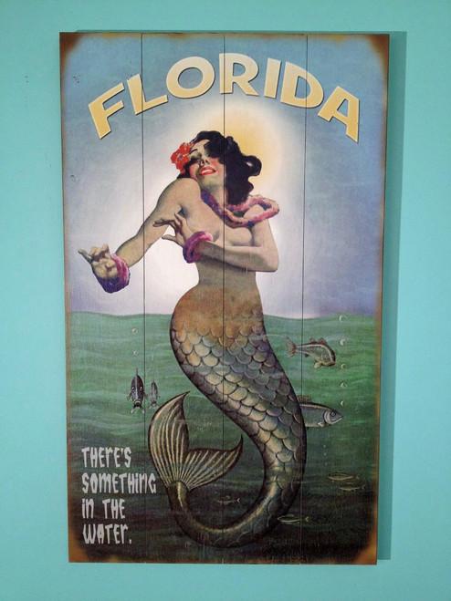 50's Vintage Wooden Mermaid Sign