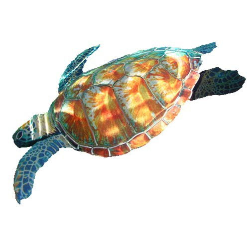 Tropical Sea Turtle Metal Wall Art Sculpture