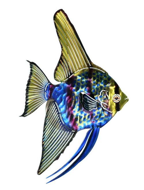 Tropical Angel Fish Metal Wall Art Hanging