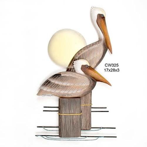 Wooden Pelicans on Pilings Gray/Brown