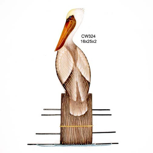 Wooden Pelican on Piling