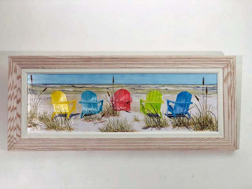 Framed Beach Chairs Large Wall Painting