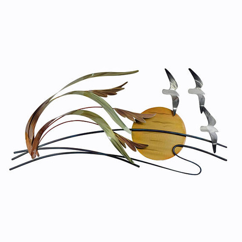 Sea Gulls and Sea Oats Metal Wall Art