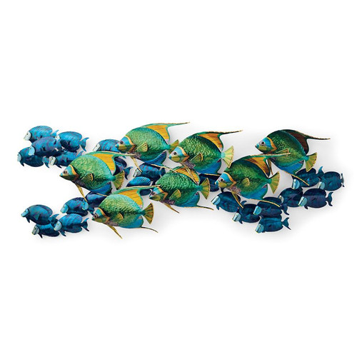 Angelfish with Blue Tangs - Metal Wall Sculpture