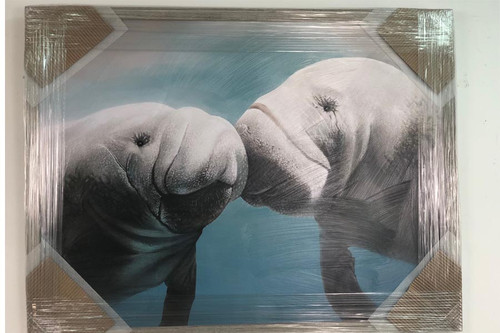 Manatees Kissing Large Artwork on Canvas