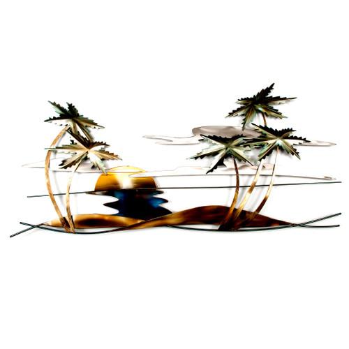 Swaying Tropical Palm Scene - Metal Wall Art CO141