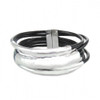 Bracelet black cords and silver accents