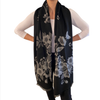 Winter Scarf Black & Grey Flowers