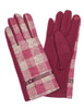 Red Gloves with beige plaid