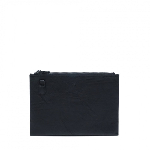 Rosalie Double Zipper Clutch with Removable Strap in Black