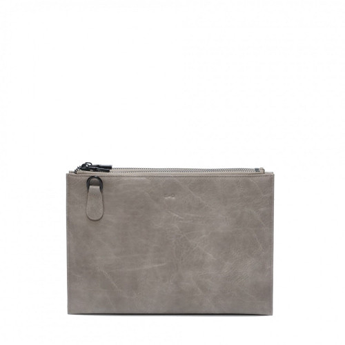 Rosalie Double Zipper Clutch with Removable Strap in Stone