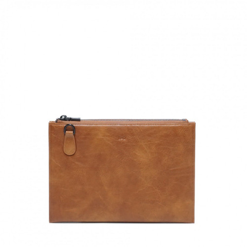Rosalie Double Zipper Clutch with Removable Strap in Camel