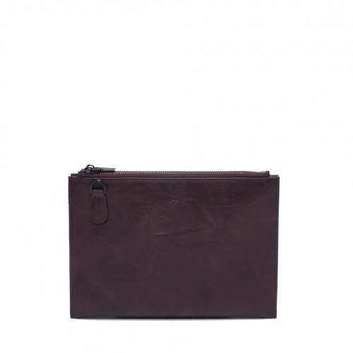 Rosalie Double Zipper Clutch with Removable Strap in Plum