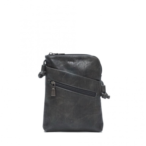 Crossbody with Front Pockets in Charcoal Hannah