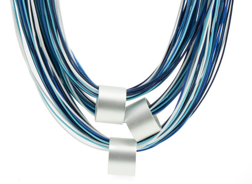 Fashion necklace blue tone cords matt silver cylinder accents