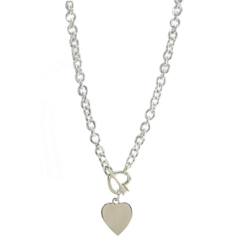 Fashion necklace shiny silver and light gold heart/arrow