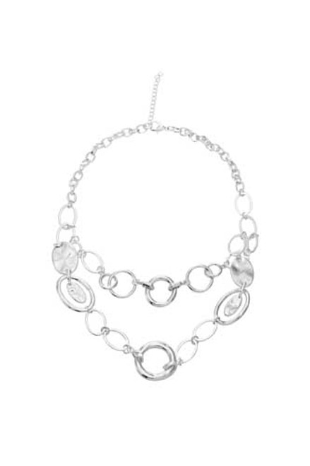 Fashion Necklace shiny silver mixed size cirlcles