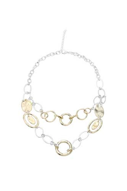 Fashion Necklace circles and ovals double drop
