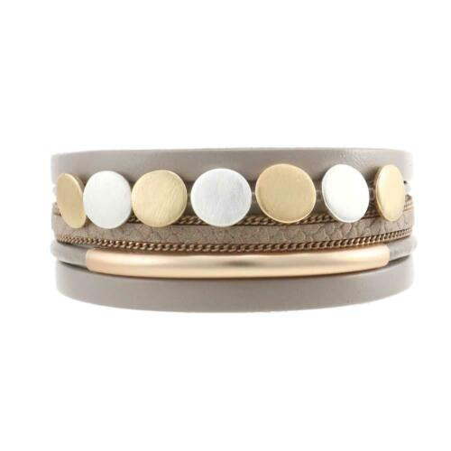 Fashion bracelet brushed gold and silver accents