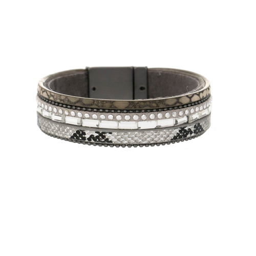 Fashion bracelet gun metal and glass accents