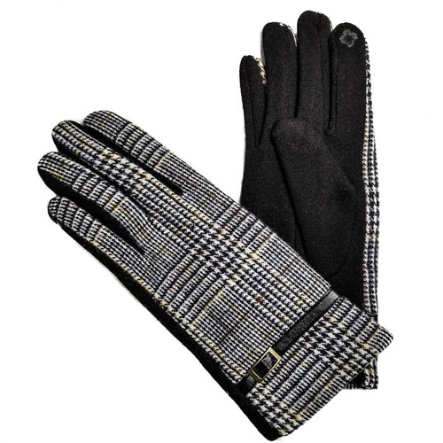 Grey Plaid gloves with buckle