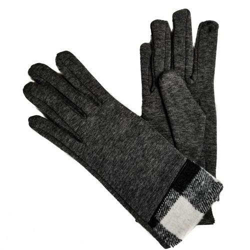 Grey ladies gloves with plaid cuff
