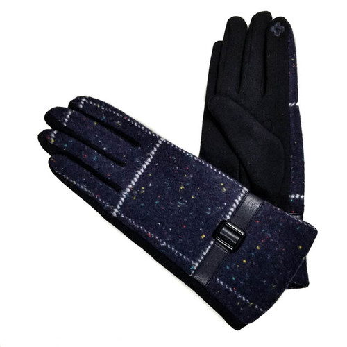 Ladies Gloves Navy plaid with buckle