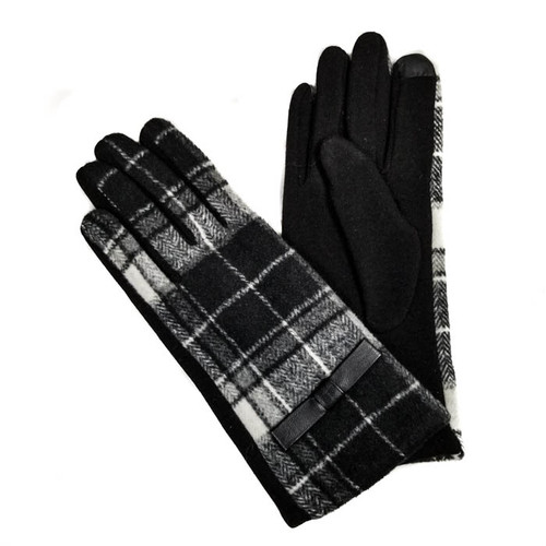 Gloves plaid with bow