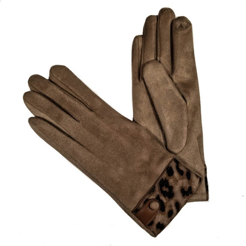 Ladies Gloves camel with animal print cuff