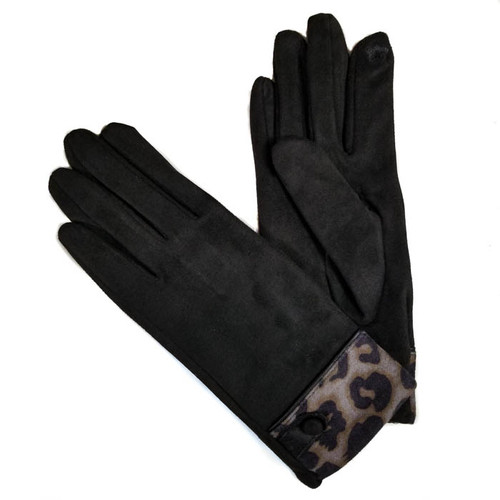 Ladies Gloves black with animal print cuff