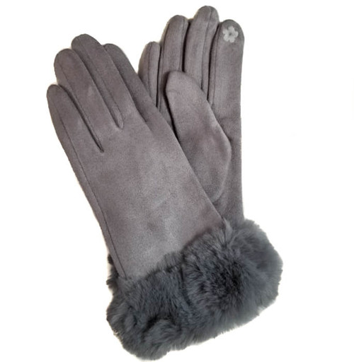 Ladies Gloves with fur cuff light grey