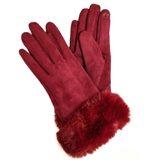 Ladies Gloves with fur cuff wine