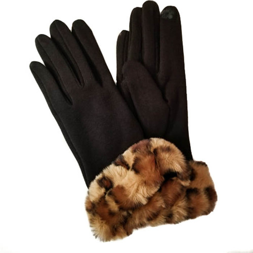 Womens gloves leopard print faux fur cuff